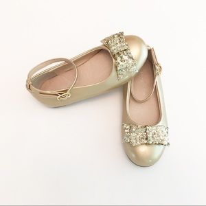 Chasing Fireflies Gold Patent Ballet Flats W/ Bows